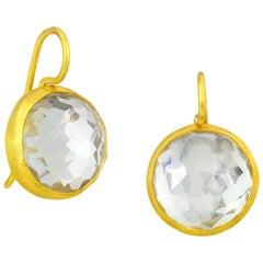 Stephanie Albertson 17.0 Carat White Topaz Round Gemstone Cocktail Earring