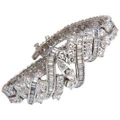 13.10 Carat Platinum Diamonds Bracelet Victorian Cocktail Twist Classic