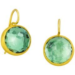Stephanie Albertson 17.0 Carat Green Amethyst Round Gemstone Cocktail Earring