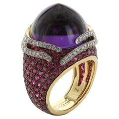 Amethyst Ruby Diamond 18 Karat Yellow Gold Ring