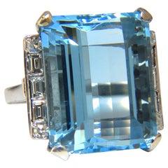 "GIA Certified 33.44 Carat Natural ""Blue"" Aquamarine Diamonds Ring Vivid"