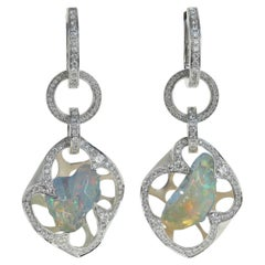 Mexican Opal, Diamond - One of a Kind 18 Karat White Gold Earrings