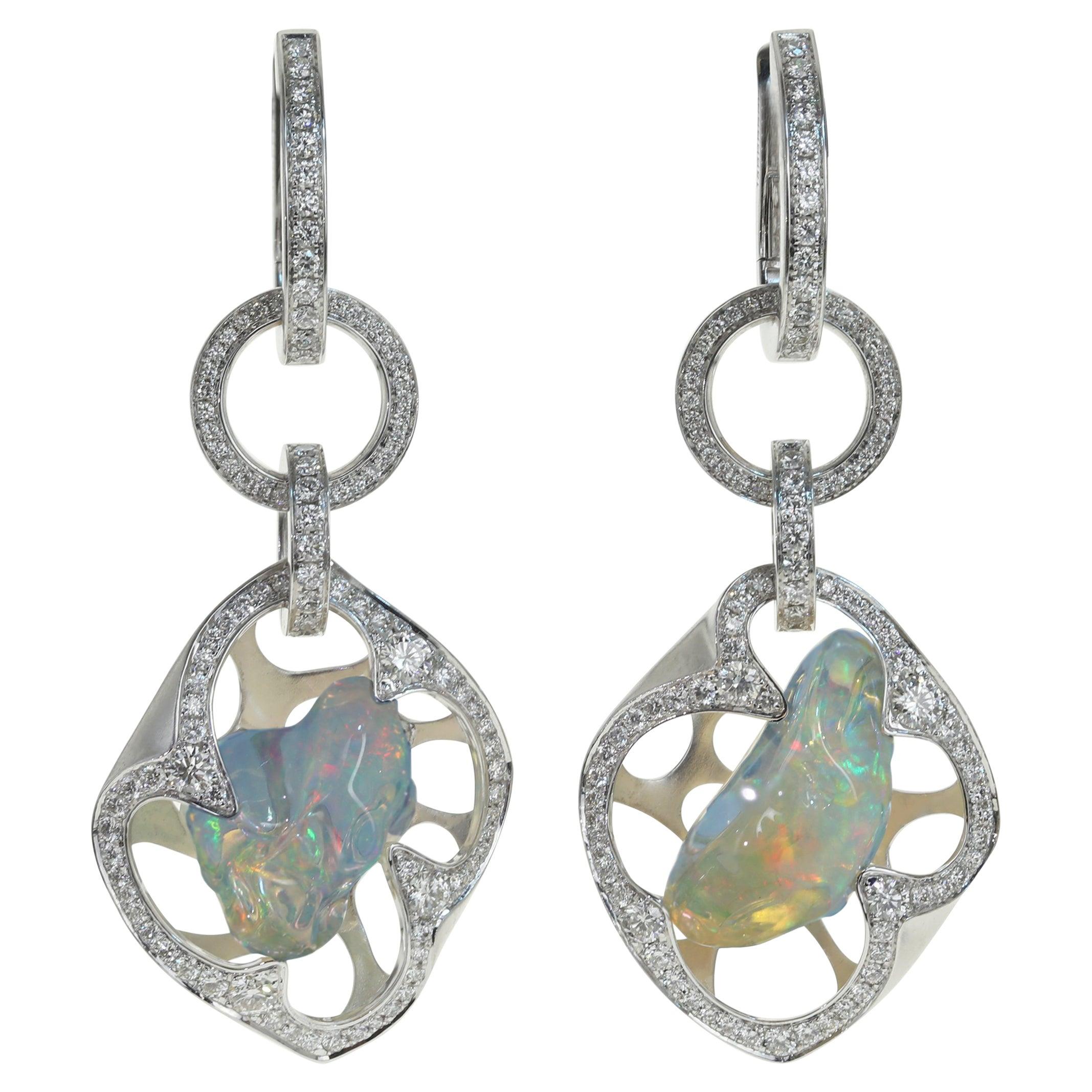 Mexican Opal, Diamond - One of a Kind 18 Karat White Gold Earrings