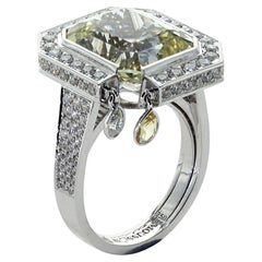 Unheated Yellow Sapphire Diamonds 18 Karat White Gold Art Deco Ring