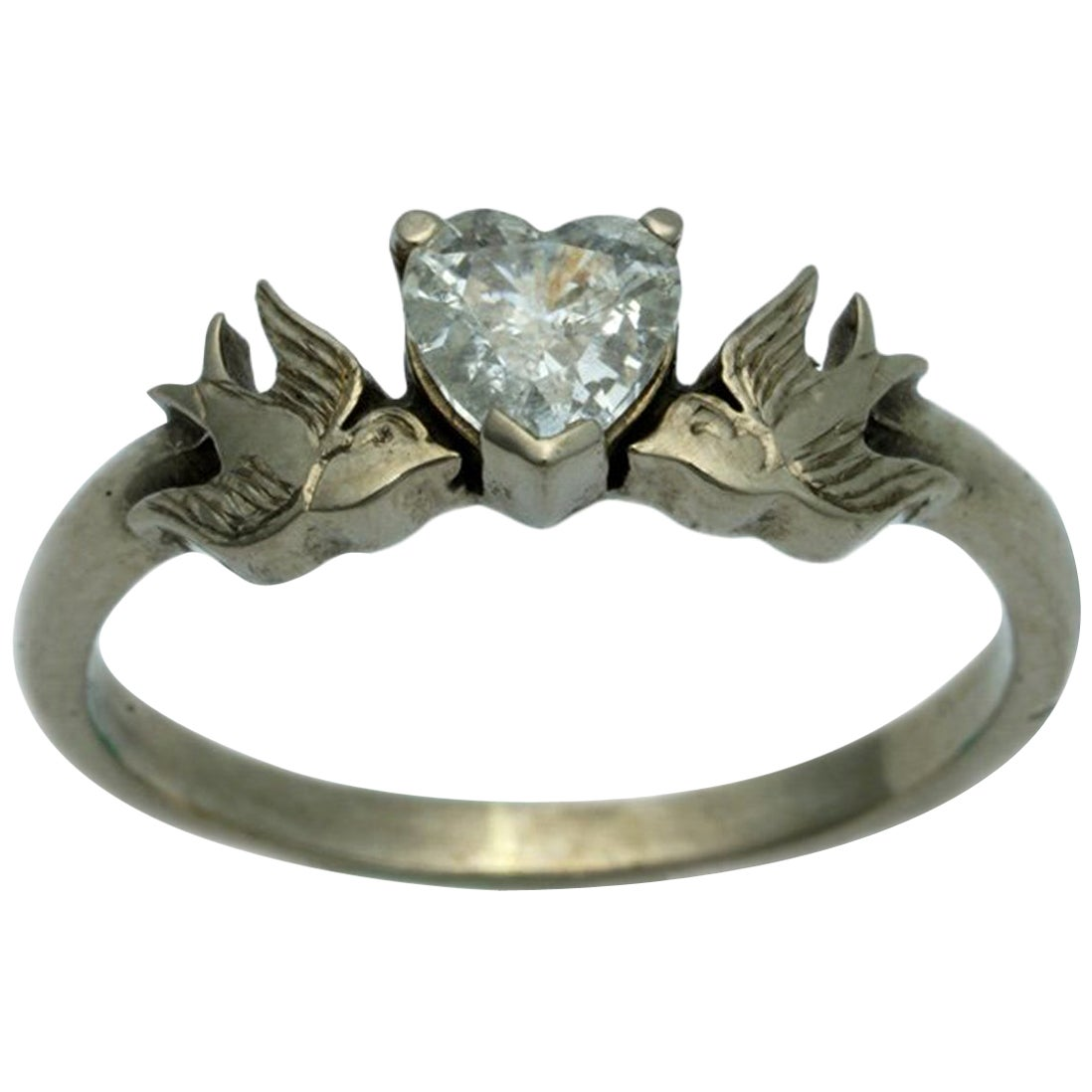 Diamond Heart and Swallows Ring in 18 Karat White Gold and White Diamond