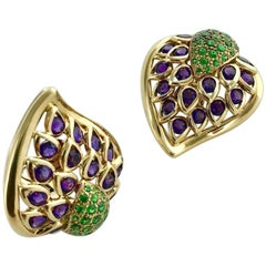 Rene Boivin Amethyst Diamantoid Yellow Gold Earrings Earclips