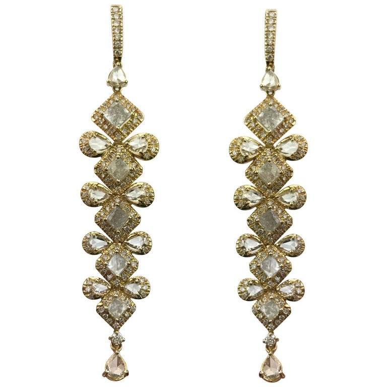 Diamond and 18 Karat Yellow Gold Dangling Earrings