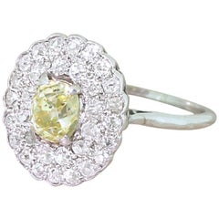 Retro 2.87 Carat Fancy Yellow and White Old Cut Cluster Ring, circa 1955