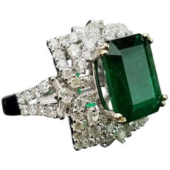 3.95 Carat Emerald and Diamond 18 Karat Gold Cocktail Ring