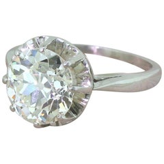 Art Deco 3.23 Carat Old Cut Diamond Engagement Ring