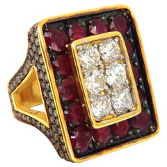 19.84ct Natural Diamonds Ruby Mens Ring 18kt Big & Tall Boxer Deco Grand