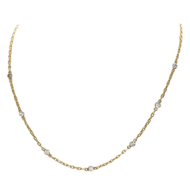 14 Karat Yellow and White Gold Diamonds by the Yard Chain Necklace