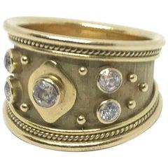 Elizabeth Gage 18 Karat Yellow Gold White Diamond Tapered Band Ring