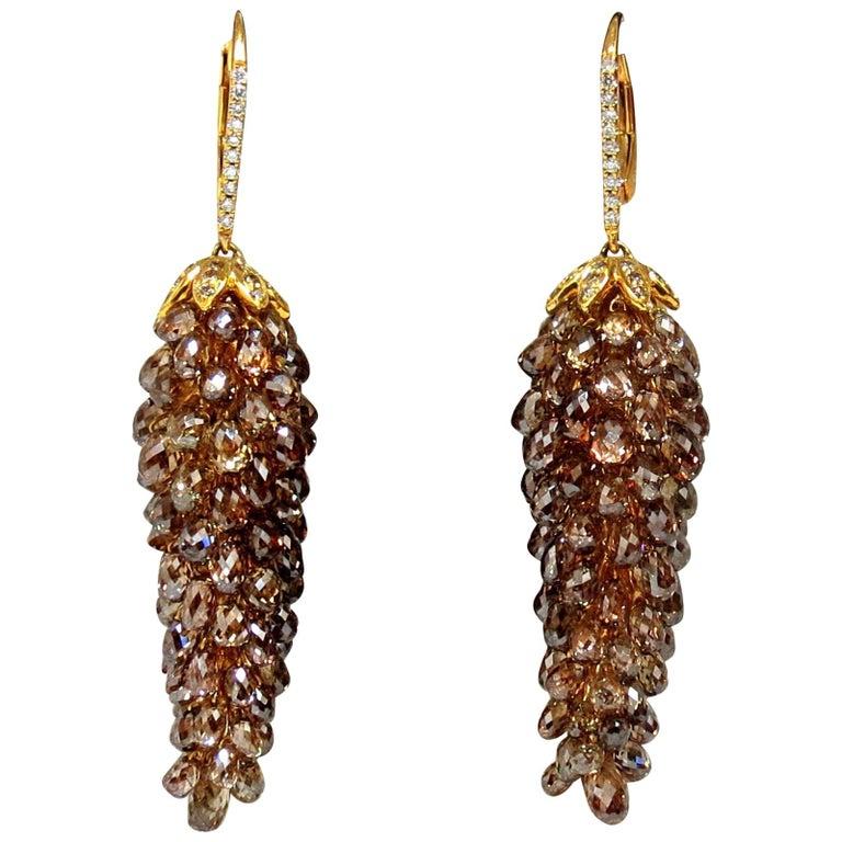 60.15ct Natural Fancy color briolette diamond dangle earrings 18kt grapevine