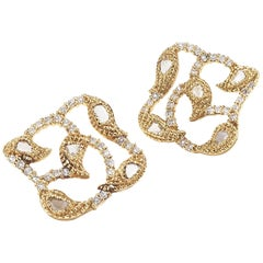 Coomi 20K Vine Post Earrings with Brilliant and Rose Cut Diamonds