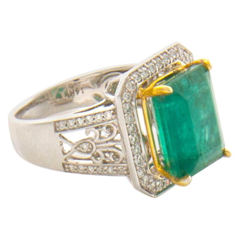 GIA Certified 7.65 Carat Emerald Diamond Ring 14 Karat White and Yellow Gold