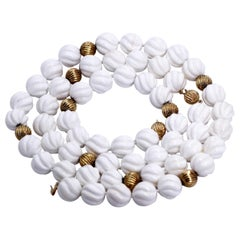 Pair of White Shell and Gold Bead Necklaces