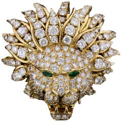 Van Cleef & Arpels 18 Karat Yellow Gold Diamond Lion Brooch