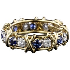 Tiffany & Co. Schlumbereger 18K Yellow Gold and Platinum Sapphire & Diamond Ring