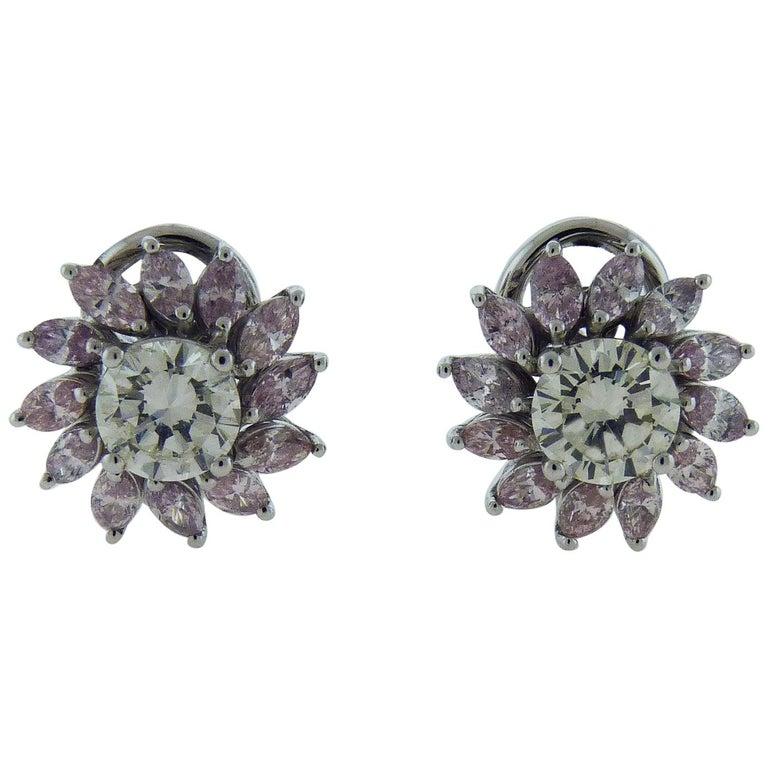 Diamond Flower Earrings in 18 Karat White Gold