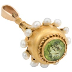 Antique Victorian Peridot Seed Pearl Fob Pendant Vintage 18 Karat Gold Estate