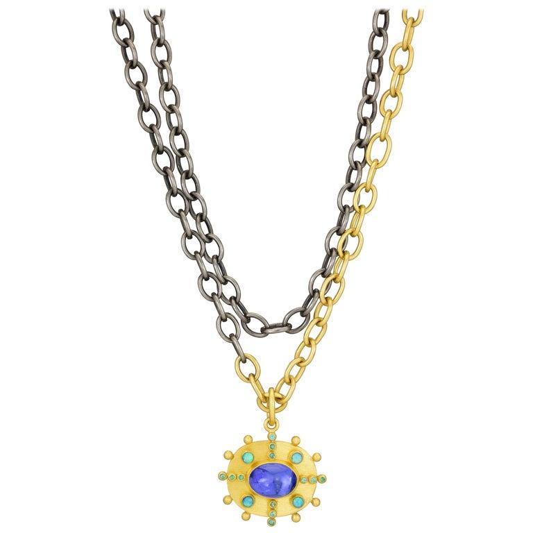 Stephanie Albertson Tanzanite, Paraiba Tourmaline, Opal, 22K Gold Pendant