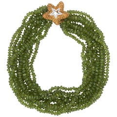 Peridot Multi Strand Necklace Starfish Clasp Vintage 18 Karat Gold