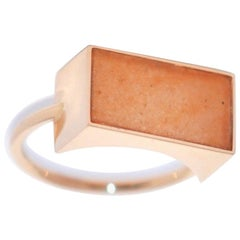 Rectangular Aventurine and Rose Gold 18 Karat Ring