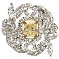 .83 Carat Fancy Yellow Cushion Diamond Flower Shaped Ring 18 Karat