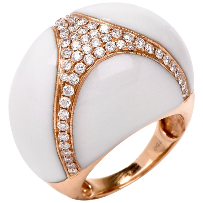 18 Karat Natural White Coral Diamond Gold Bombe Cocktail Ring