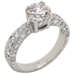 Platinum 1.50 carat Round European Cut Diamond Vintage Engagement Ring SI1/K