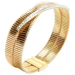 K DI Kuore 18 Karat Gold 20.80 GR and 0.39 Carat Cuff Bracelet