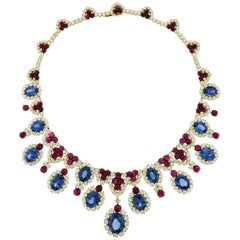 Diamond, Sapphire and Ruby 18 Karat White Gold Fringe Necklace by Bulgari