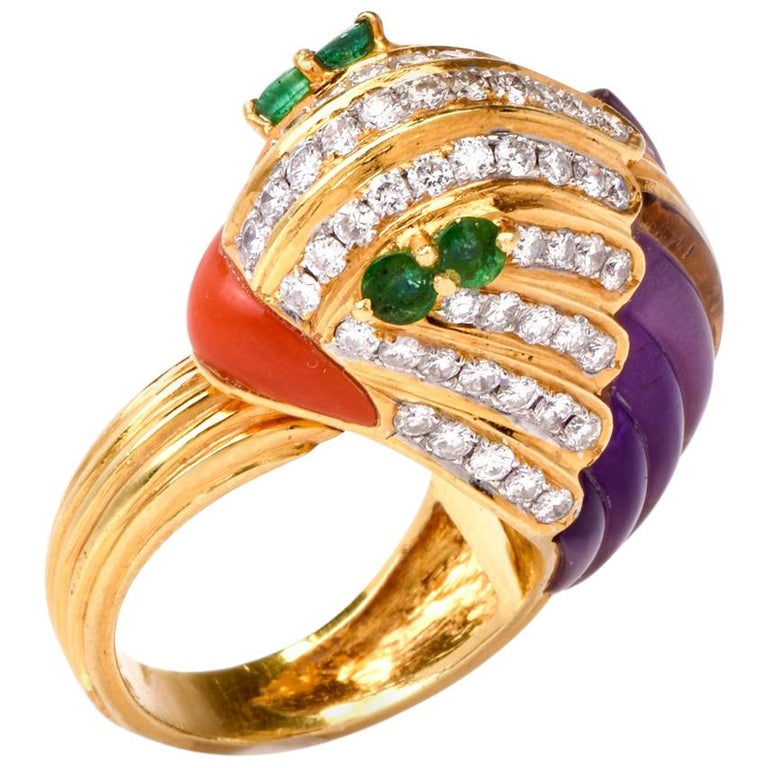 1980s 18 karat Diamond Amethyst Coral Emerald Animal Cocktail Gold Ring