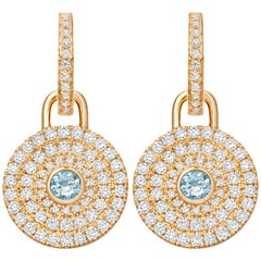 Kiki McDonough 18 Carat Yellow Gold Blue Topaz and Diamond Detachable Earrings