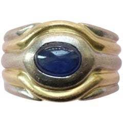 Bi-Color 18 Carat Gold and Sapphire Protective Eye Ring