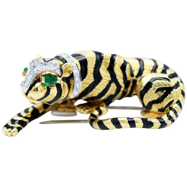 David Webb Yellow Gold Crouching Tiger Brooch