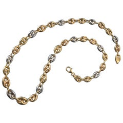 18 Carat Tri-Color Coffee Bean Gold Chain