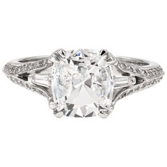 GIA Certified 1.52cts. Cushion Cut, Tapered Baguette & Round Diamond Plat Ring