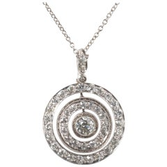 Art Deco Diamond and Platinum Target Pendant