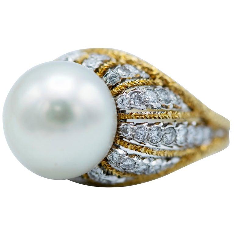 Buccellati South Sea Pearl and Diamond Ring