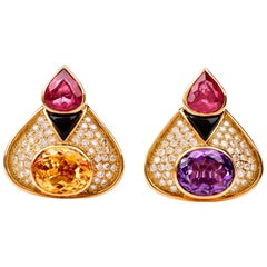 Stylish Diamond Tourmaline Amethyst 18 Karat Gold Clip-On Earrings