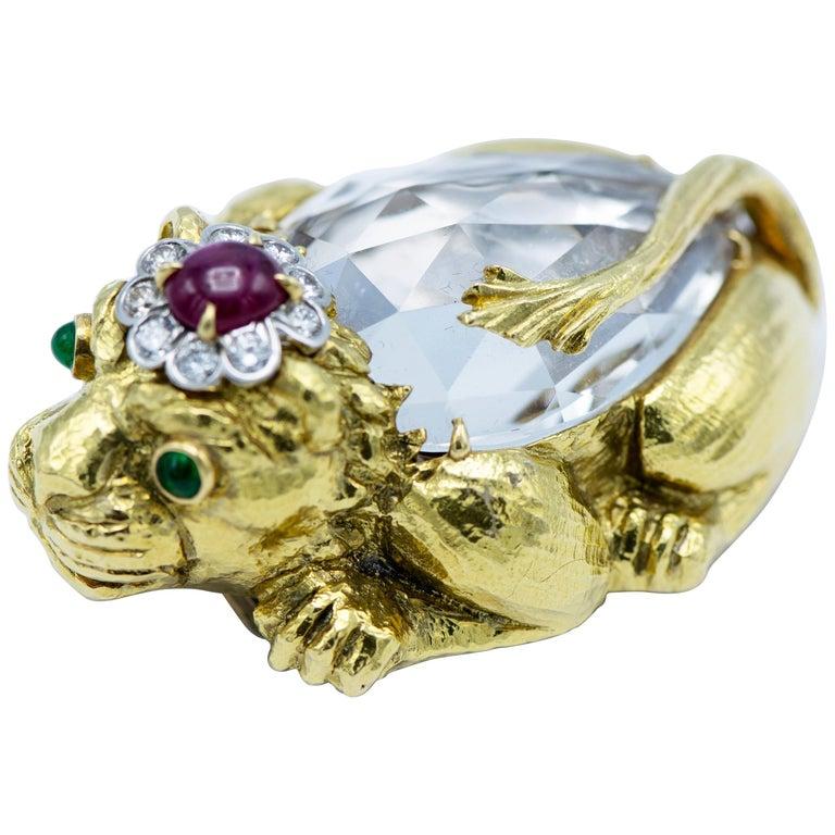 David Webb Crystal, Ruby, Emerald and Diamond Lion Brooch