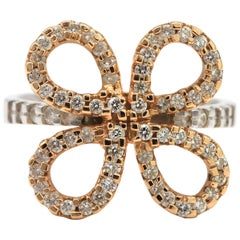 Flower Shaped Ring with White Pave Diamonds .41ct 18K White and Rose Gold