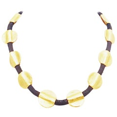 Denise Roberge 22 Karat Discs on Leather Necklace