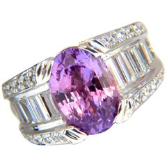 GIA 8.50ct natural no heat sapphire diamond ring 14kt. unheated purple pink