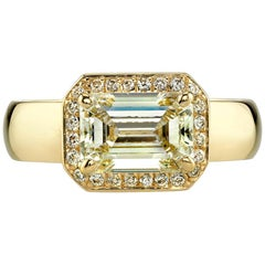 Bold Gold Emerald Cut Diamond Engagement Ring
