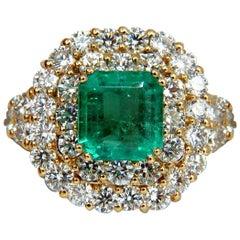 GIA 7.51 Natural Colombia Bright Green Emerald Diamonds Ring 18 Karat