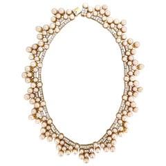 10.00ct Natural Diamonds & Akoya Pearls 18kt Necklace Opera Riviera Deco