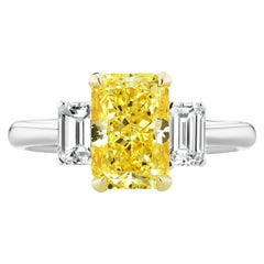 2.53 Carat Natural Fancy Yellow Radiant Cut Diamond Ring